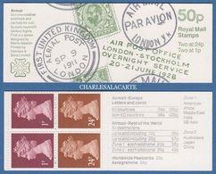 GREAT BRITAIN 1993 FOLDED BOOKLET 50p  POSTAL HISTORY PAR AVION COVER  S.G. FB 64 - Carnets