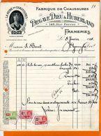 FACTURES : Fabrique De Chaussures  DEGRAVE DIEU  FRAMERIES Timbres Quittance Beau Graphisme - 1900 – 1949