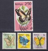 Kenya 1988/89 Mi. 415, 420, 422, 485    Butterfly Schmetterling Papillon - Kenia (1963-...)
