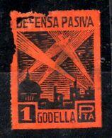 Viñeta De Defesa Pasiva Godella Color Naranja Rara. - Vignette Della Guerra Civile