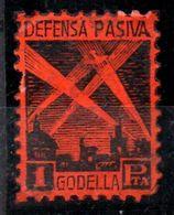 Viñeta De Defesa Pasiva Godella Color Rojo Dentado Rara. - Vignette Della Guerra Civile