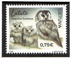 Lithuania 2020 .Lithuanian Red Book(Owls). 1v:0.75 - Lituania