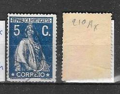 Mi 210Ax + Bruin Papier  T15:14 - 1910 : D.Manuel II