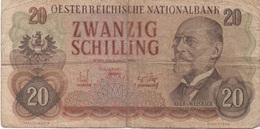 Autriche : 20 Schilling 1956 Très Mauvais état - Austria