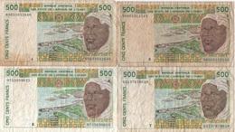 Afrique Ouest : Série De 4 Billets De 500 Francs A+B+K+T (très Mauvais état) - Altri – Africa