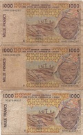 Afrique Ouest : Série De 3 Billets De 1000 Francs K+S+T (très Mauvais état) - Altri – Africa