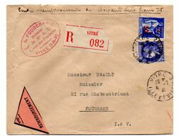 1941--Lettre Recommandée  CRBT  De VITRE-35 Pour FOUGERES-35--type Paix + Cérès... - 1961-....