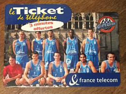 SAINT QUENTIN BASKET BALL TICKET TÉLÉPHONE 3 MN SPÉCIMEN 27/12/2003 CARTE TÉLÉPHONIQUE SANS CODE TELECARTE - Frankreich