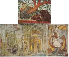 57. Gf. Eglise De SILLEGNY. Peintures Murales. 4 Cartes - Other Municipalities