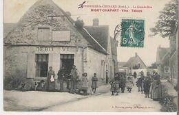LEVESVILLE LA CHENARD. CPA Voyagée  La Grande Rue Bigot- Chapart Vins Tabacs - Other Municipalities