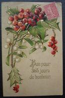 Salignac De Pons (Sur Charente) 1907  Cachet Tireté Recto Verso Sur Carte De Nouvelle Année Pour Cognac - 1877-1920: Semi Modern Period