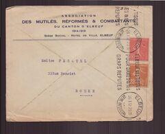 """France, Enveloppe à En-tête """" Association Mutilés, Réformés & Combattants """" Du 26 Janvier 1932 De Elbeuf Pour Rouen - Frankrijk"""