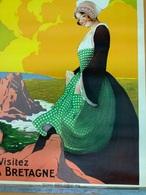 Affiche De STALL. Chemin De Fer De L'Etat. VISITEZ LA BRETAGNE. 0,75 X 1,05. Originale. - Posters