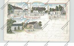 NIEDER-SCHLESIEN - WERNDORF / JAZWINY (Trebnitz), Lithographie, Gasthof Biewald & Bartsch, Warenhandlung, Post... - Schlesien