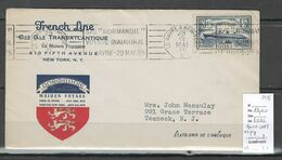 France -Lettre  New York Au Havre C  - 1935 - Voyage Inaugural Normandie - Postmark Collection (Covers)