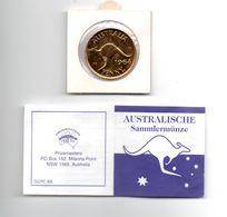 AUSTRALIE PENNY 1964 GOLD PLATED 18 KARAAT - Monnaie Pré-décimale (1910-1965)