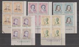 REPUBBLICA:  1979  PERSONAGGI  ILLUSTRI  -  S. CPL. 5  VAL. BL. 4  N. -  SASS. 1455/59 - Blocchi & Foglietti