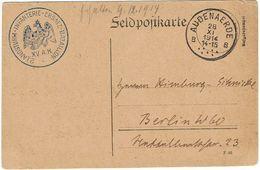 """Feldpostkarte De AUDENAERDE """"B"""" DU 28-XI-1914 à BERLIN + Censure """"2 LANDSTURM-INFANTERIE-ERSATZ-BATAILLON XV.A.K."""" - Guerre 14-18"""