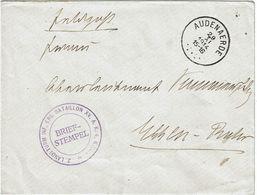 """Lettre De AUDENAERDE DU 29-XI-1914 à ESSEN + Censure """"2 LANDSTURM-INF.-ERS.-BATAILLON XV.A.K.4 KOM."""" - Guerre 14-18"""
