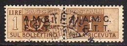 TRIESTE A 1947 1948 AMG-FTT SOPRASTAMPATO D'ITALIA ITALY OVERPRINTED PACCHI POSTALI LIRE 1 USATO USED OBLITERE' - Paketmarken/Konzessionen