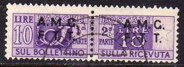 TRIESTE A 1947 - 1948 PACCHI POSTALI PARCEL POST LIRE 10 USATO USED OBLITERE' - Paketmarken/Konzessionen