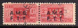 TRIESTE A 1947 1948 AMG - FTT ITALIA ITALY OVERPRINTED  PACCHI POSTALI LIRE 50 USATO USED OBLITERE' - Paketmarken/Konzessionen