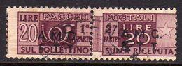 TRIESTE A 1947 - 1948 PACCHI POSTALI PARCEL POST LIRE 20 USATO USED OBLITERE' - Paketmarken/Konzessionen