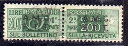 TRIESTE A 1947 1948 AMG-FTT SOPRASTAMPATO D'ITALIA OVERPRINTED PACCHI POSTALI PARCEL POST LIRE 200 USATO USED OBLITERE' - Paketmarken/Konzessionen