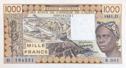 West African States 1.000 Francs, P-406Db (1981) - UNC - ERROR NUMBERING - Westafrikanischer Staaten