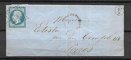 FRANCE   -  Lettre De 1858 De Wignehies (Nord) Pour Paris.  Losange De Points Sur N°14A - 1849-1876: Klassik