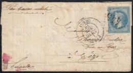 """Ballon Monté """"Le Général Uhrich"""" Obl GC 445 PARIS BERCY 16/NOV./1870 Pour Mèze - 1863-1870 Napoléon III Con Laureles"""