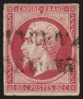 N°17B, Napoléon Non-dentelé 1859, 80c Rose, Oblitéré Cachet Espagnol - TB - 1853-1860 Napoleon III