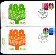 (B) 2238/2239 FDC 1986 - 100 Jaar Christelijk Syndicalisme. (2 St.) - 1981-90