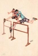Humour, Illustration Franco Garelli - Athlétisme, Course De Haies - Jeux Universitaires Internationaux, Torino 1933 - Athletics