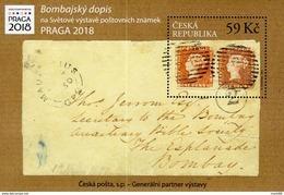 2018 Lettre De Bombay Maurice The Bombay Cover PRAGA 2018 - Blokken & Velletjes