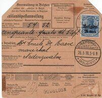 OC 18 S/Mandat-Poste International De GEMBLOUX-GEMBLOERS Du 28-5-18 à NEDERZWALM (Obl. Postüberwachungsstelle 249) - Guerre 14-18