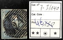 NB - [839709]TB//O/Used-Belgique 1851 - N° 7-I-140, 20c Bleu - 1851-1857 Medallions (6/8)