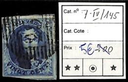 NB - [839872]TB//O/Used-Belgique 1851 - N° 7-IV-145, 20c Bleu - 1851-1857 Medallions (6/8)