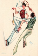 Humour, Illustration Franco Garelli - Tennis - Jeux Universitaires Internationaux, Torino 1933 - Tennis