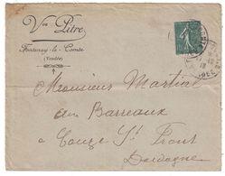 1918 - LETTRE ENTETE VEUVE PITRE À FONTENAY-LE-COMTE (VENDÉE) AFFRANCHIE SEMEUSE N° 130 Pour COUZE Et ST FRONT DORDOGNE - 1877-1920: Periodo Semi Moderno