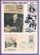 FRANCE - CARTE OBLI MAL DE LATTRE DE TASSIGNY PARIS 08.05.52 + FDC OBLI HEROS DE LA RESISTANCE PARIS 26.03.60 - Guerre Mondiale (Seconde)