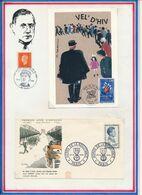 FRANCE - CARTE OBLI RAFLE DE VEL'D'HIV PARIS 09.07.95 +  FDC OBLI HEROS DE LA RESISTANCE PARIS 22.04.61 - Guerre Mondiale (Seconde)