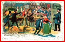 Litho Feierabend, Meine Herren, Gasthaus Billard Stammtisch Gl 1901 - Humor