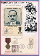 FRANCE - CARTE + FDC OBLI PREMIER JOUR PAUL GATEAUD OZOLLES SAONE ET LOIRE 22.04.61 - Guerre Mondiale (Seconde)