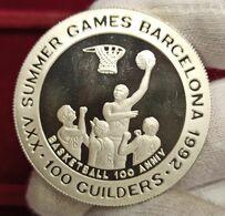 Surinam 100 Guilders Olympic Games 1992 - Basketball Km 40.1 Plata - Suriname 1975 - ...