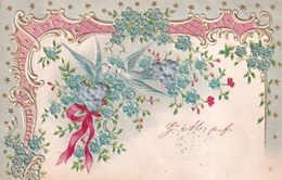 FANTAISIE(FLEUR) CARTE GAUFREE(PIGEON) - 1er Avril - Poisson D'avril