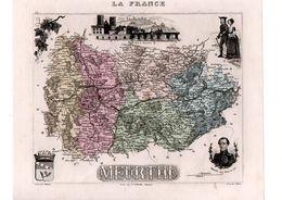 Carte Du Département De La Meurthe, Dressée Par Vuillemin. Atlas Migeon 1874-76 - Geographical Maps