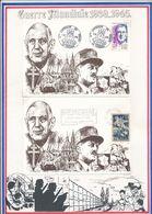 FRANCE - 2 CARTES DE GAULLE OBLI 50E ANNIV DES COMBATS TERGNIER 03.06.90 + MEMORIAL CAEN GAMBETTA 07.03.88 - De Gaulle (Général)