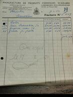 Facture, Produits Chimiques Scarabée 1952 - Luxembourg