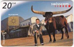 SWITZERLAND D-612 Chip Telecom - Occupation, Circus Artist, Animal, Cow - Used - Switzerland